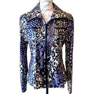 Clara Sun Woo print jacket with sheen like new L